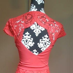 NWT Coral Peekaboo Back Lace Crop